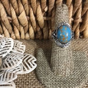 Mojave Blue Turquoise Ring Stainless Sz 6